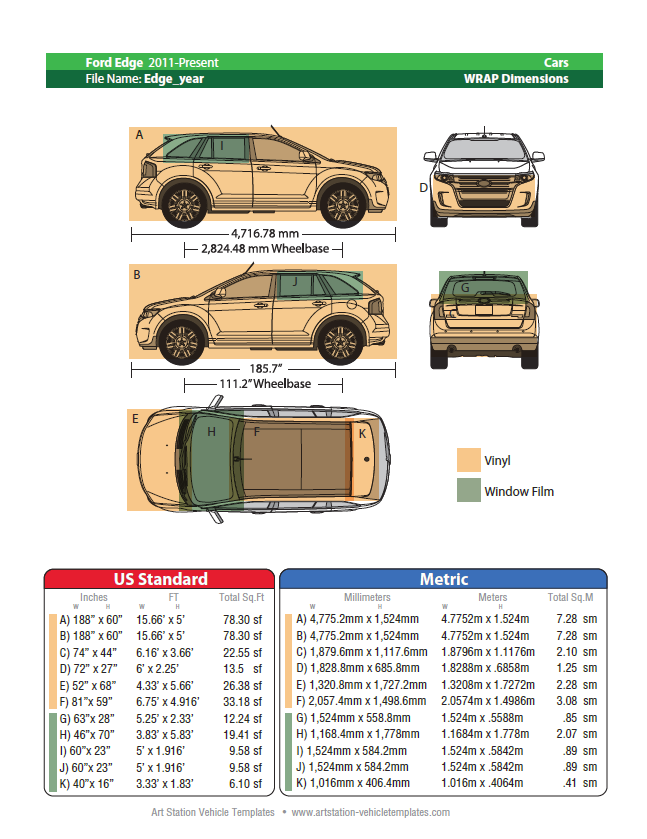 Art Station Vehicle Wrap Dimensions Book